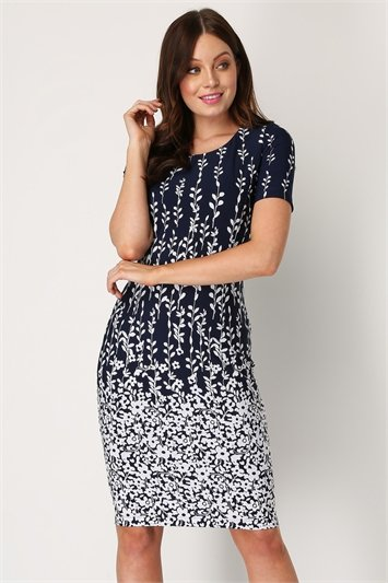 Border Print Floral Shift Dress