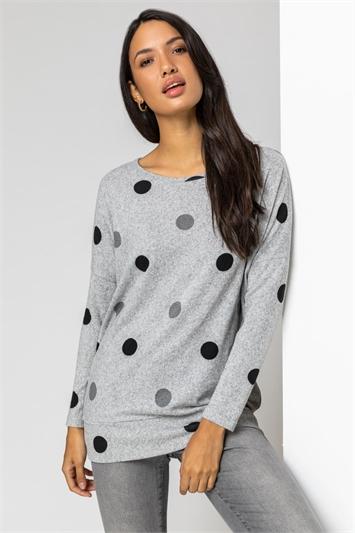 Grey Spot Print Blouson Top