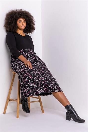 Plum Curve Floral Print Jersey Midi Dress