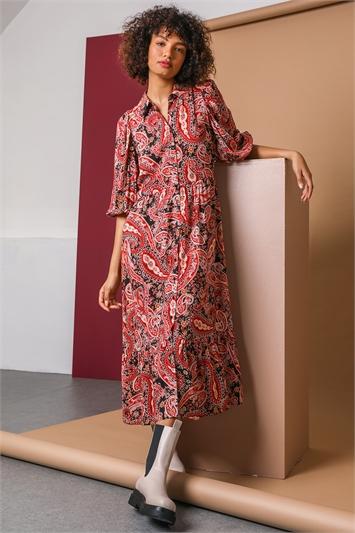 Red Paisley Print Midi Shirt Dress, Image 1 of 5