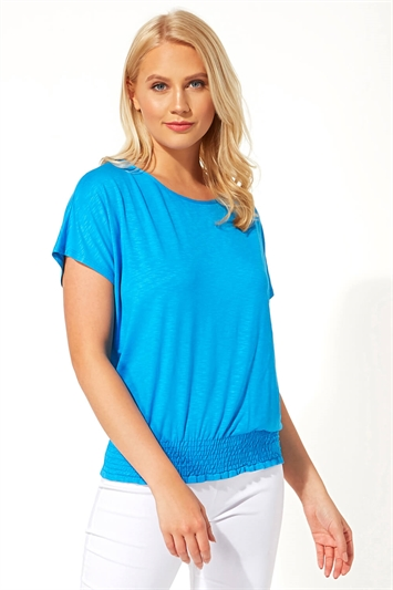 Short Sleeve Shirred Hem Top