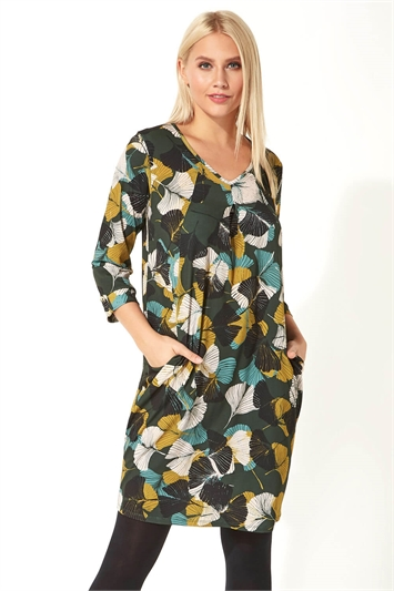Leaf Print 3/4 Sleeve Slouch Dress