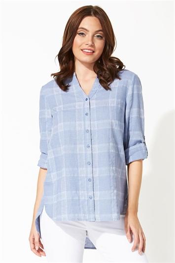 Textured Check Print Wrap Back Shirt