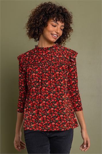 Red Disty Floral Shirred Detail Top