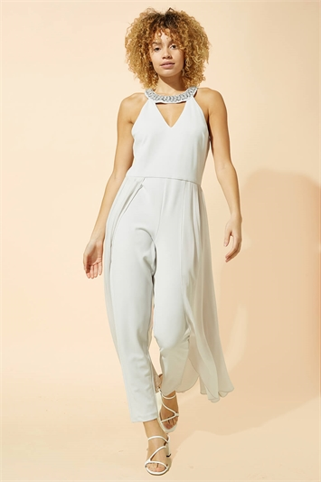 Sparkle Trim Chiffon Layer Jumpsuit
