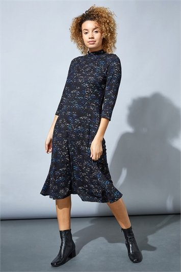 Star Print High Neck Midi Dress