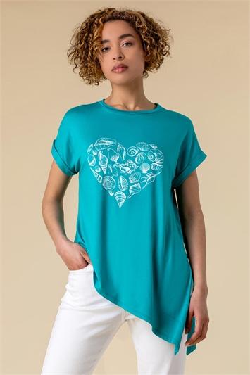 Shell Heart Print T Shirt