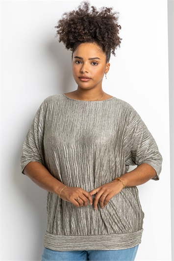 Gold Curve Shimmer Pleated Blouson Top