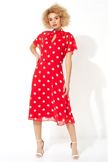 High Neck Spot Midi Dress