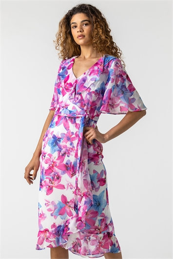 Floral Print Frill Wrap Dress