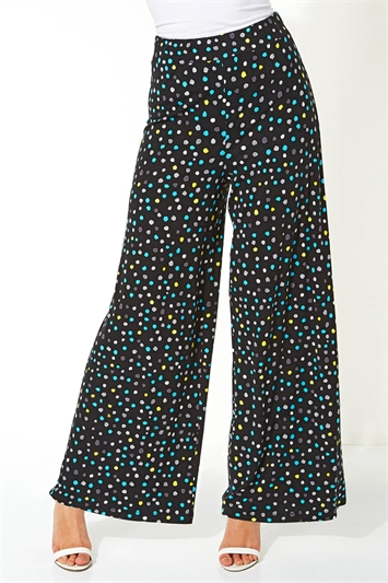 Spot Print Wide Leg Trousers