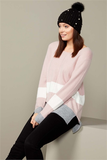 Colour Block Stripe Crew Neck Jumper