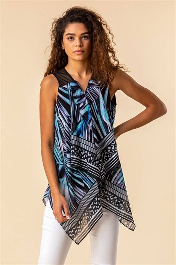 Abstract Print Asymmetric Hem Top