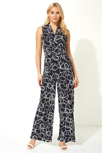 Nautical Rope Print Jumpsuit