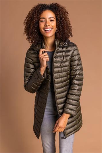 Olive Longline Zip-Through Padded Coat