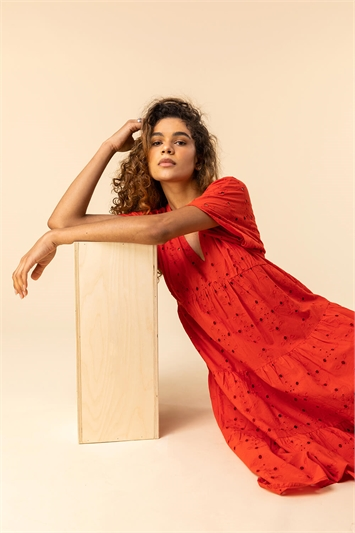 Red Broderie Tiered Smock Dress
