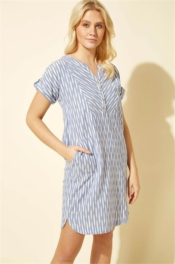 Abstract Stripe Button Dress