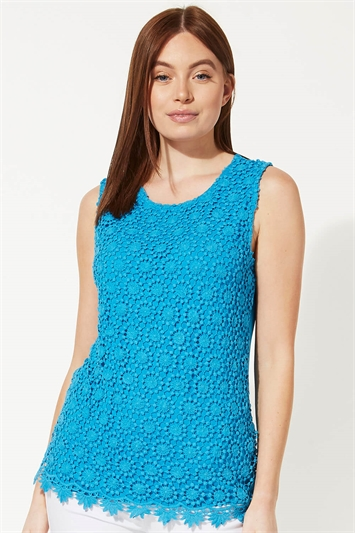 Turquoise Lace Front Shell Top, Image 1 of 5