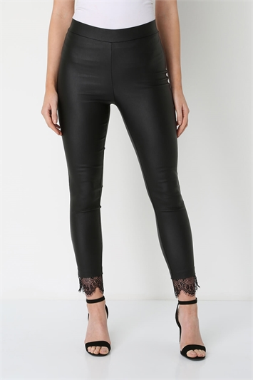 Faux Leather Lace Hem Leggings