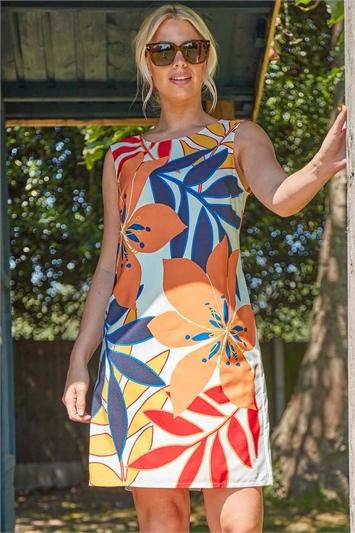 Tropical Floral Print Shift Dress