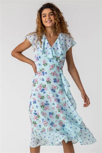 Blue Floral Spot Print Frill Wrap Dress
