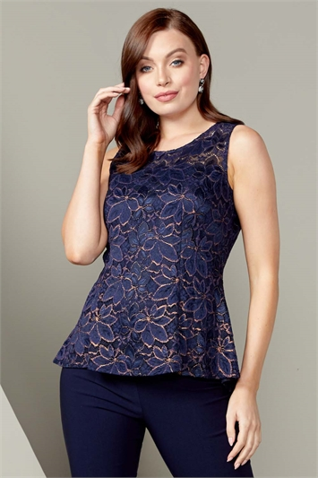Shimmer Lace Peplum Top