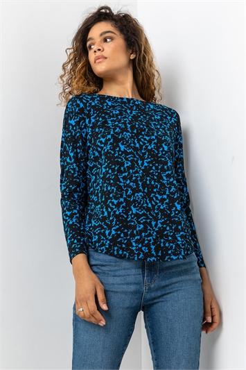 Royal Blue Abstract Animal Print Tunic Top