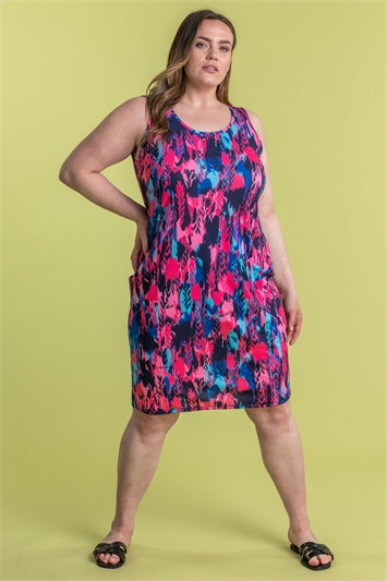 Curve Abstract Print Cocoon Dress