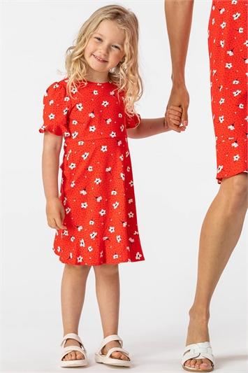 Red Girls Floral Print Fluted Tea Dress