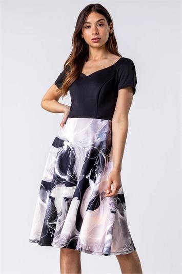Black & Grey Contrast Floral Print Fit & Flare Dress