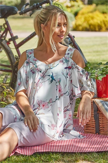 Cold Shoulder Floral Hanky Hem Top