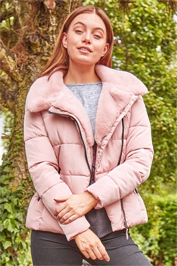 Faux Fur Collar Padded Biker Coat