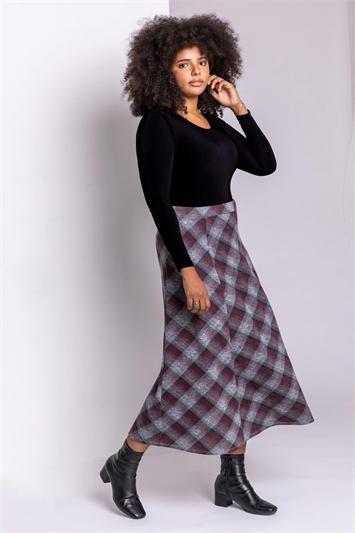Bordeaux Curve Check Print Midi Skirt