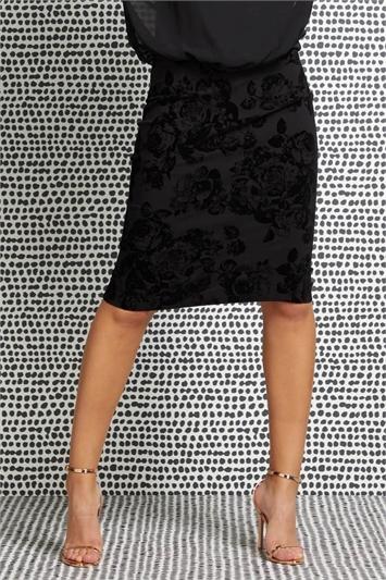 Floral Flocked Pencil Skirt