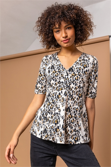 Brown Animal Print Jersey Button Top , Image 1 of 5