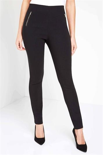 Black Zip Detail Stretch Trouser
