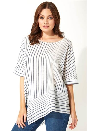 Stripe Print Asymmetric Top