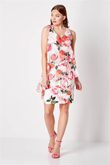 Floral Chiffon Overlay Scuba Dress