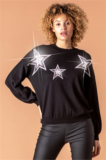 Star Diamante Embellished Jumper