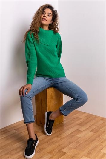 Green Textured Knit Split Neck Jumper, Image 1 of 5