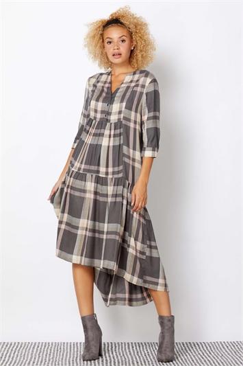 V-Neck Check Print Tiered Dress