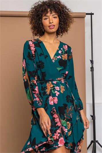 Teal Floral Print Wrap Midi Dress