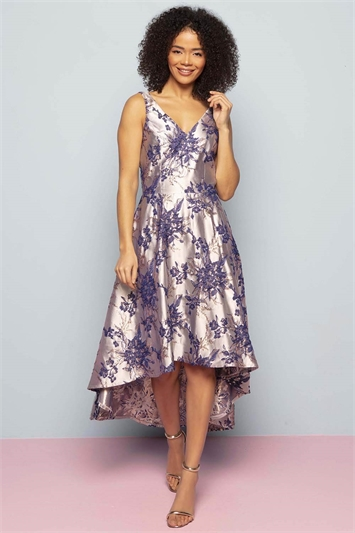 Floral Jacquard Gown Dress