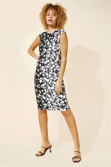 Side Floral Border Print Dress
