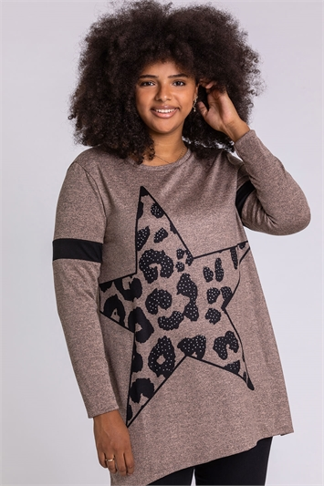 Beige Curve Star Print Jersey Top, Image 1 of 4