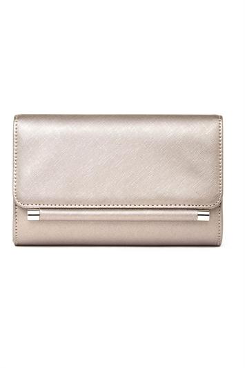 Foldover Metal Bar Clutch Bag
