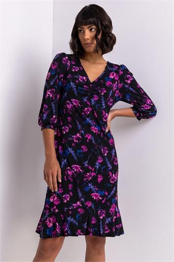 Purple Floral Ruched Detail Tea Dress