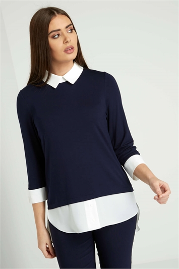 Contrast Collar Layered Shirt Top