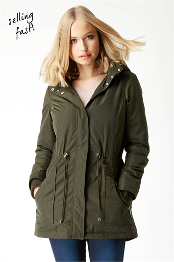 Hooded Pocket Detail Coat