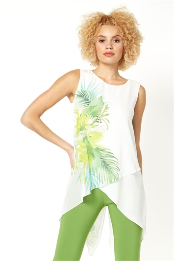 Leaf Print Sleeveless Tunic Top